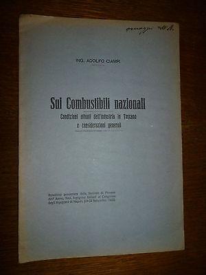 ADOLFO CIAMPI SUI COMBUSTIBILI NAZIONALI condizioni industria in Toscana 1923