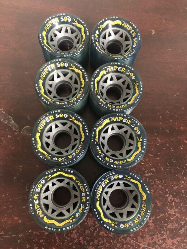 New Viper 500 Light Blue Quad Outdoor Skate Wheels. No Bearings. 62mm X 40mm