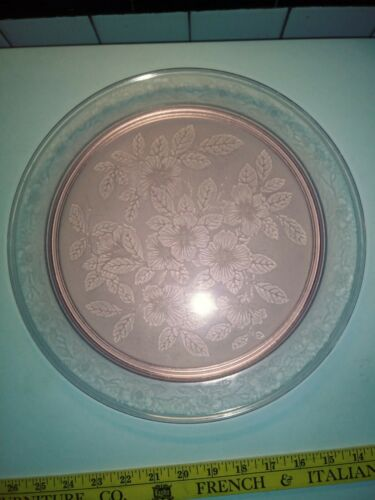 "MacBeth-Evans, Pink Dogwood/ Apple Blossom.13"" heavy Solid Foot Cake Plate."