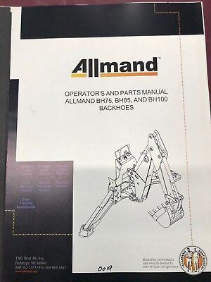 Operators Manualparts Book 0019 For Allmand Bh75 Bh85 Bh100 Backhoe