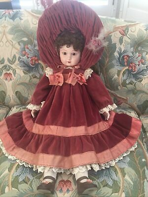 Victoria Impex porcelain Doll pearl earring velvet red outfit Needs Tender Care