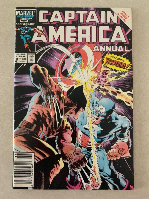 Vintage # 8 CAPTAIN AMERICA ANNUAL 1986 WOLVERINE MARVEL COMICS
