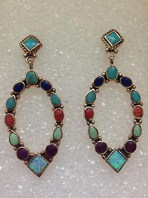 Bronze Handmade Inlay Stone Oval Teardrop Diamond Shaped Post Dangle Earrings Diamond Teardrop Post Earrings