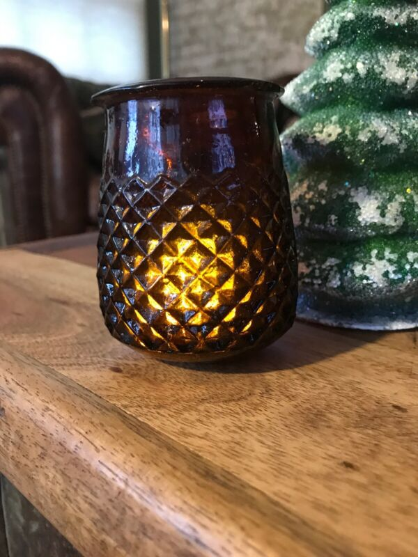 Antique Victorian  Diamond Quilted Glass Christmas Fairy Light Lamp