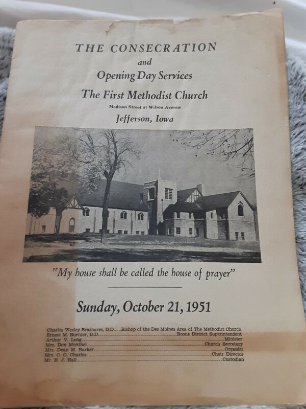 Vintage Old Booklet First Methodist Church Opening Jefferson Iowa with Photos