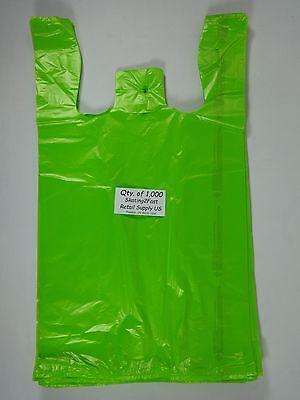 1000 Qty. Lime Green 11.5x6x21 Plastic T-shirt Bags W Handles Retail Shopping