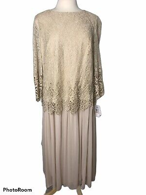 Alex Evenings Womens Gold Metallic Lace Evening Scalloped Dress Gown 16W Metallic Lace Gown