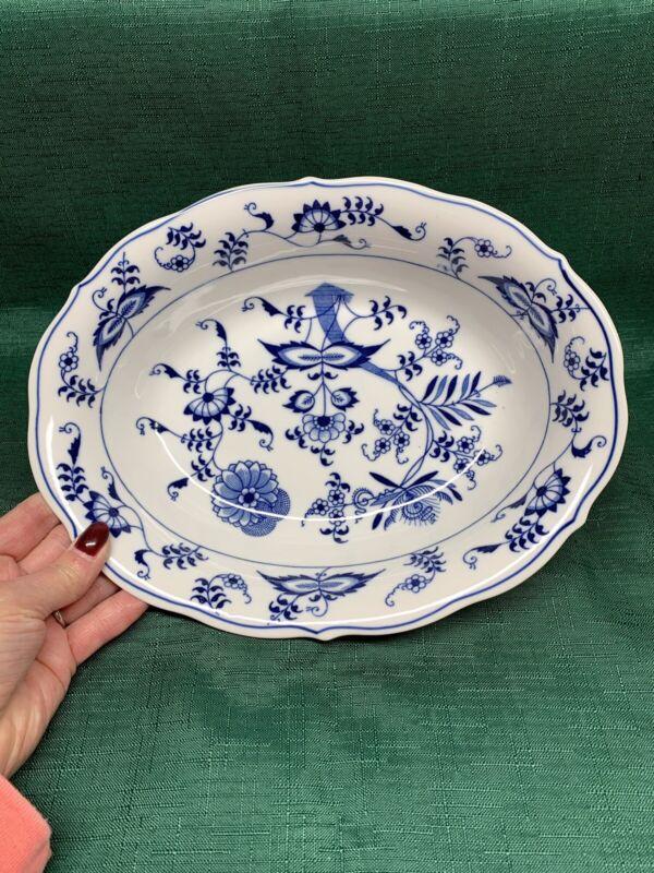 """Vintage Blue Danube Onion 10"""" Oval Vegetable Serving Bowl Rectangle Label MINT"""