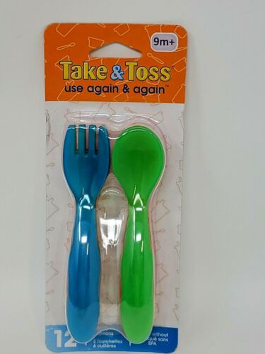 The First Years Take & Toss Fork & Spoon Flatware, Assorted Colors, 12 Ct