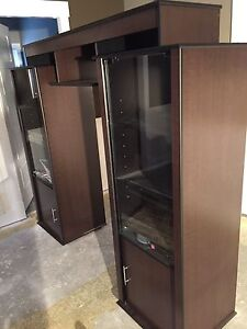 Entertainment unit, with glass door, med/dark wood