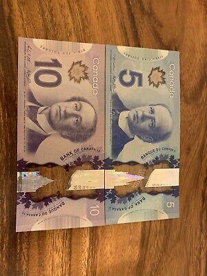 Canada 5 And 10 Dollar Banknotes. Canadian Dollars. Circulated Bank Note Bill.