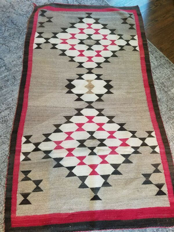 Large Antique American Indian Navajo Tribal Rug