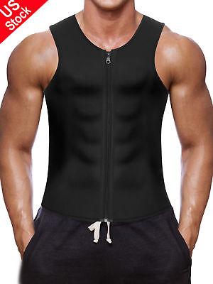(US Men's Belt Top Sportwear Body Fat Burner Vest Sauna Sweat Shaper Weight Loss)