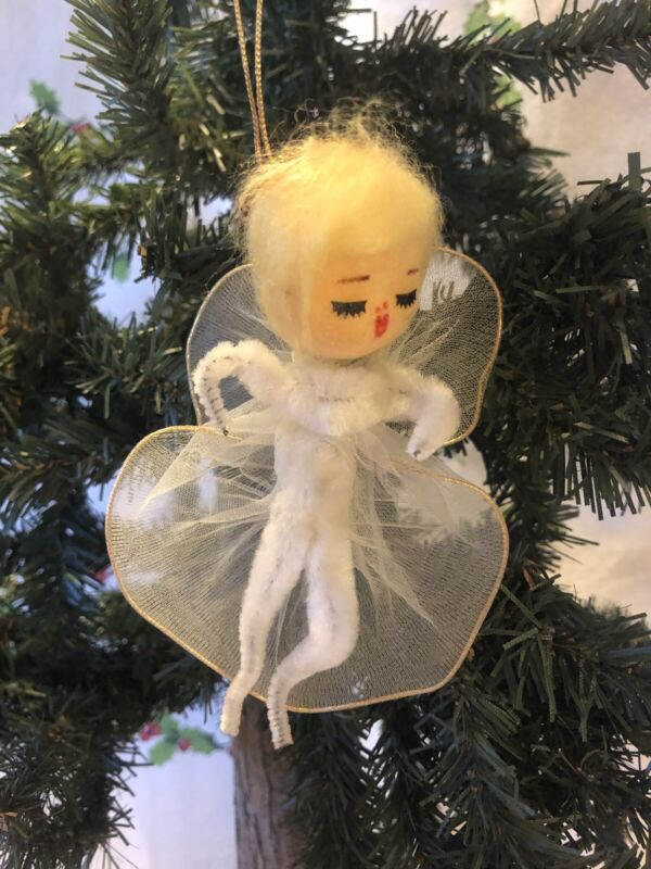 Vintage Christmas Angel Ornament Flocked Face, Chenille Body, Tulle Wings Japan