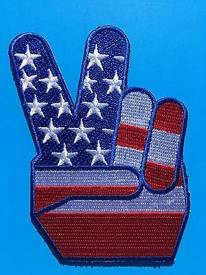 """USA AMERICAN FLAG PEACE SIGN """"V FOR VICTORY"""" EMBROIDERED PATCH (3.5"""")  HI QLTY!"""
