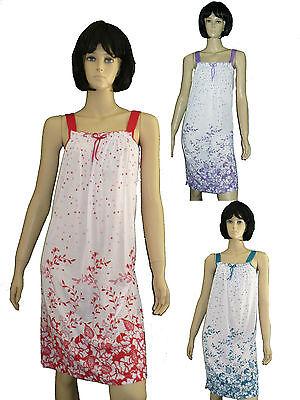 sommerliches Damen Nachthemd kurz Träger Gr.M-XXXL luftig Schlafshirt BW ()