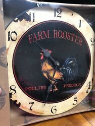 Farm Rooster Poultry Produce 14 Wall Clock with Pendulum NIB