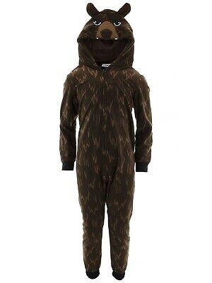 Komar Kids Boys Bear Brown Hooded Fleece Blanket Sleeper One-Piece Pajamas Brown Boys Pajamas