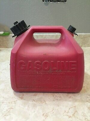 Vintage Gott 1.5 Gallon 5.7 L Easy Grip Easy Flo Red Plastic Gas Can Usa
