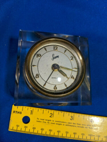 Antique Saxony Crystal Glass Clear Skeleton Alarm Clock Visible Mech Working VTG