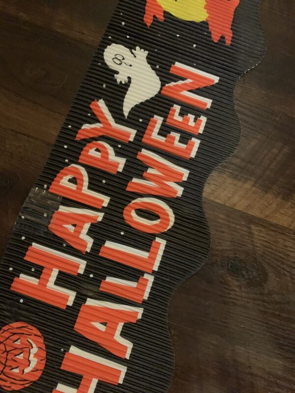 Vintage Corobuff Halloween Corregated Paper Banner W/Witches & Ghosts-USA