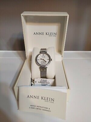Anne Klein NY 12/2309SVSV Women's 35mm Silver Tone Crystal Accent Watch W003