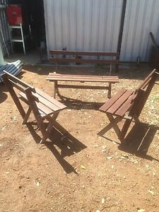 Set of 3 wooden bench seats Seville Grove Armadale Area Preview