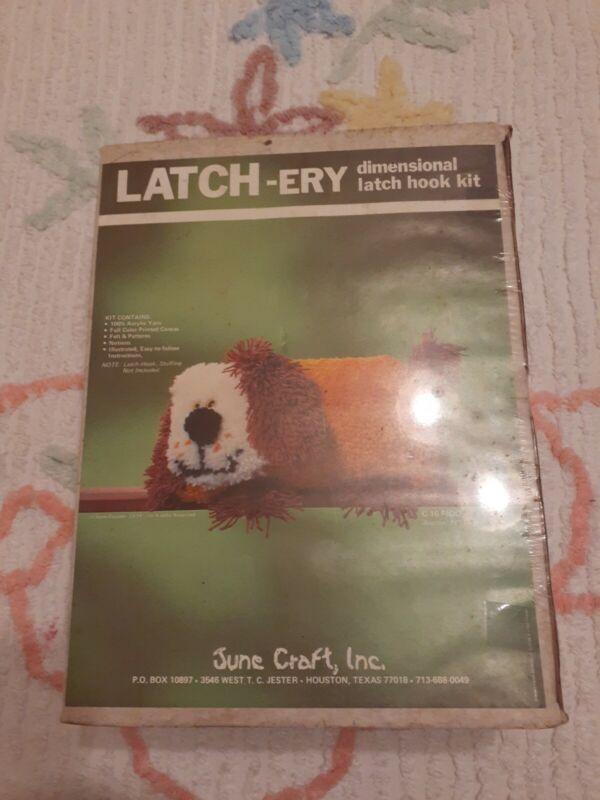 Vintage June Craft Latch-ery Dimensional Latch Hook Kit FIDO Dog NOS SEALED
