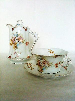 Antique Rosenthal Porcelain Tea/Coffee Pot-Cup & Saucer-Severs-Mark 1898-1906
