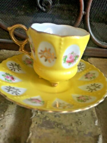 Vintage occupied japan yellow footed cup saucer roses gold trimmed