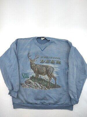 Vintage USA Made Spirit Lake Outfitters Whitetail Deer Sweatshirt Gray Men's 2X