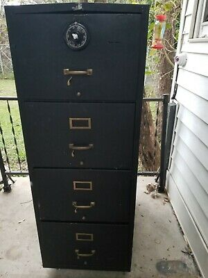 Vintage Fire Resistant 4 Drawer Legal File Cabinet With Lock