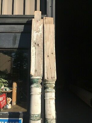 "c1890 pair antique turned Victorian porch post columns 89.5/94"" x 4.75"" square"