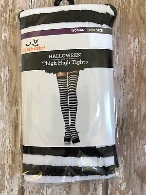 Halloween Costume Black And White Couple (1 pair adult Halloween black white striped thigh high tights trick treat)