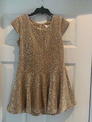 Girls Sequin Dress (Joe fresh Dress Girls Size 8 Gold Sequins Velvet Short)