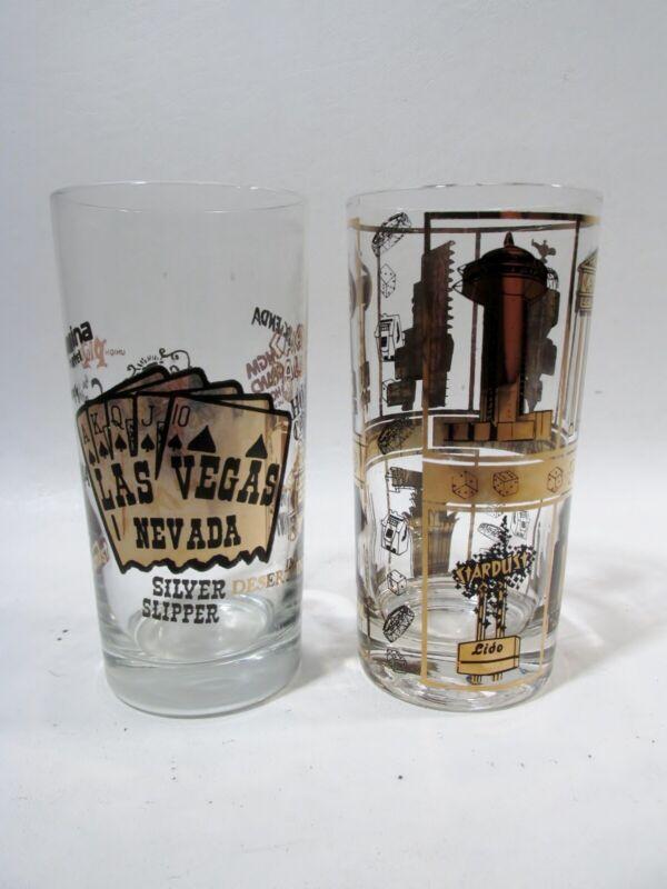 Midcentury LAS VEGAS Souvenir 2 Glass Gilt Highball Tumblers 1960s
