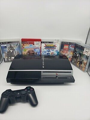 Sony PlayStation 3 bundle 60GB Piano Black Console (CECHK-01) with 5 games