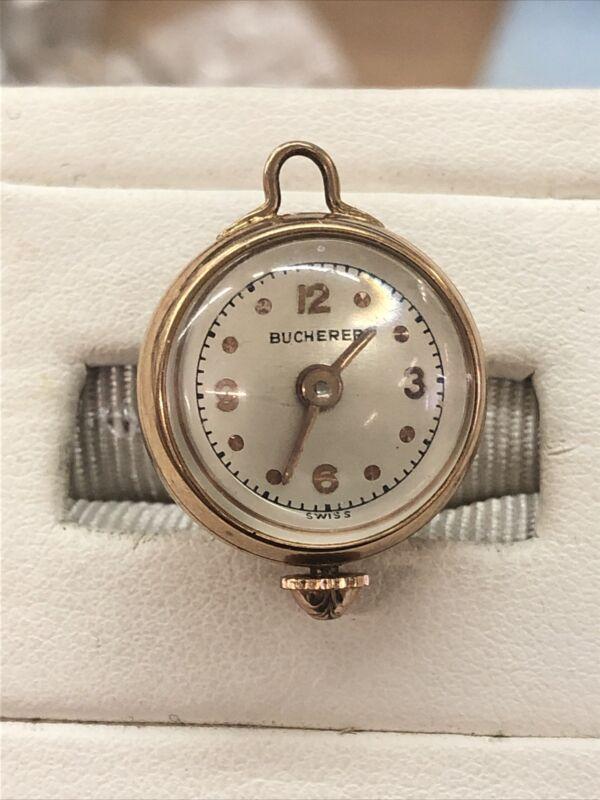 Bucherer Round Watch Pendant With Window Globe Back