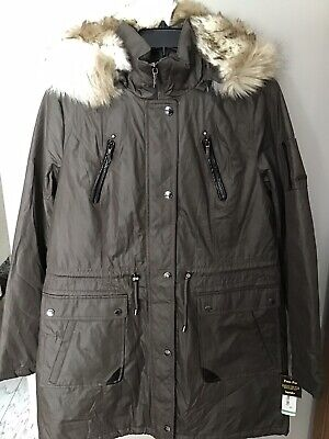 LAUNDRY BY SHELLI SEGAL FAUX FUR TRIMMED HOOD PARKA SMOKESTONE Sz Large New
