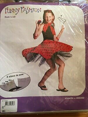 Kostüm Kinder Mädchen 50er Jahre Tellerrock Rot Rock'N Roll Rock + Schal NEU