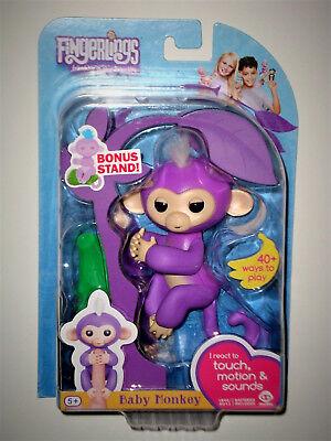 Purple Mia   Fingerlings Interactive Finger Pet Baby Monkey W Bonus Stand New