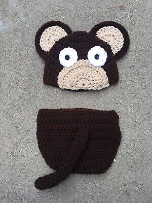 Handmade baby monkey outfit, crochet monkey costume, newborn photo-prop outfit