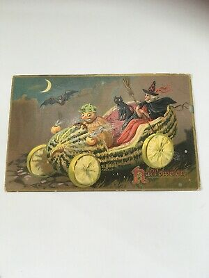 Vintage Halloween Postcard Tuck Mellon Car Witch Black Cat Goblin Cab Driver 150