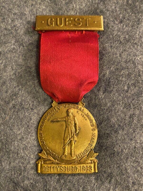 Dedication Badge Wadsworth Monument Dedication Gettysburg 1914 Guest