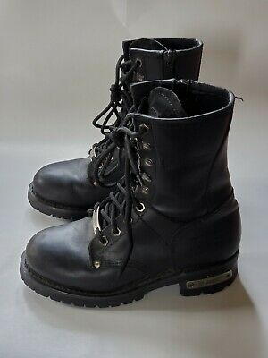 Xelement Women's Leather Motorcycle Boots Lace Up 2446 Size 6 M EUC Black