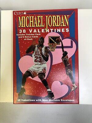 Basketball Valentine's Box (1990's 38 CLEO Michael Jordan Valentines Day Unopened Box w/ 3 Cards on Back)