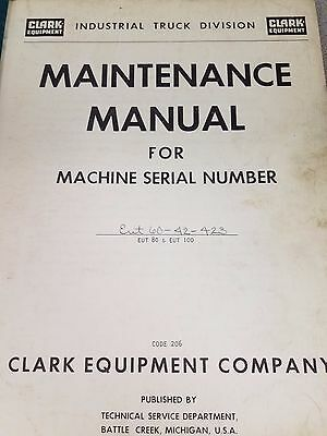 Clark Forklift Eut 60 Maintenance Manual