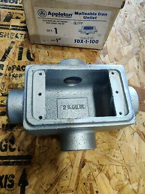 Appleton Fdx-1-100 Malleable Iron Cast Device Box 1 Hubs