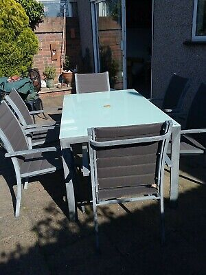 Grey garden patio furniture - glass top table & 6 chairs