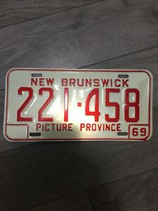 Brand New Collectible 1969 NB License Plate